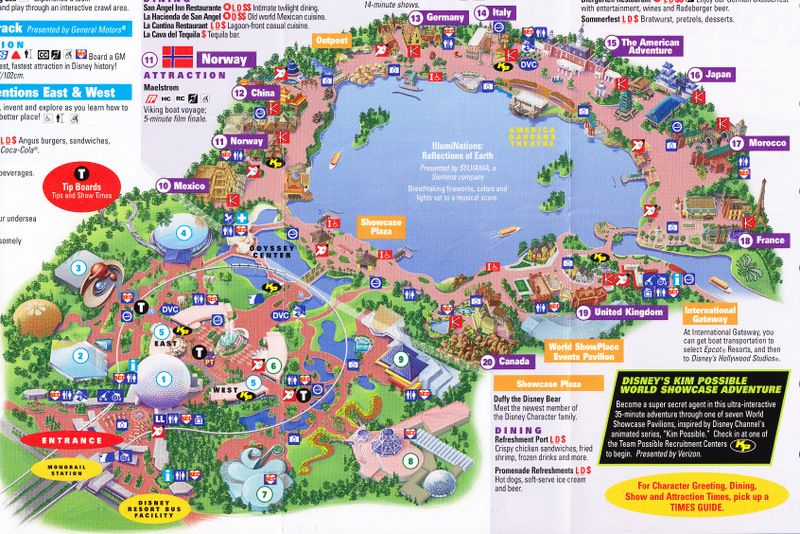 Epcot Disney World Map Epcot at Walt Disney World   2011 Park Map (With images) | Epcot