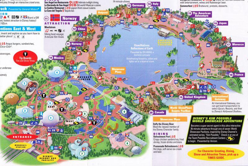 Epcot at Walt Disney World - 2011 Park Map | Favorite Places ...