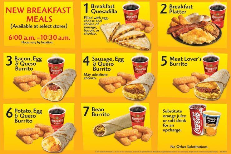 Taco Bell Breakfast Menu Taco Bell Breakfast Taco Bell