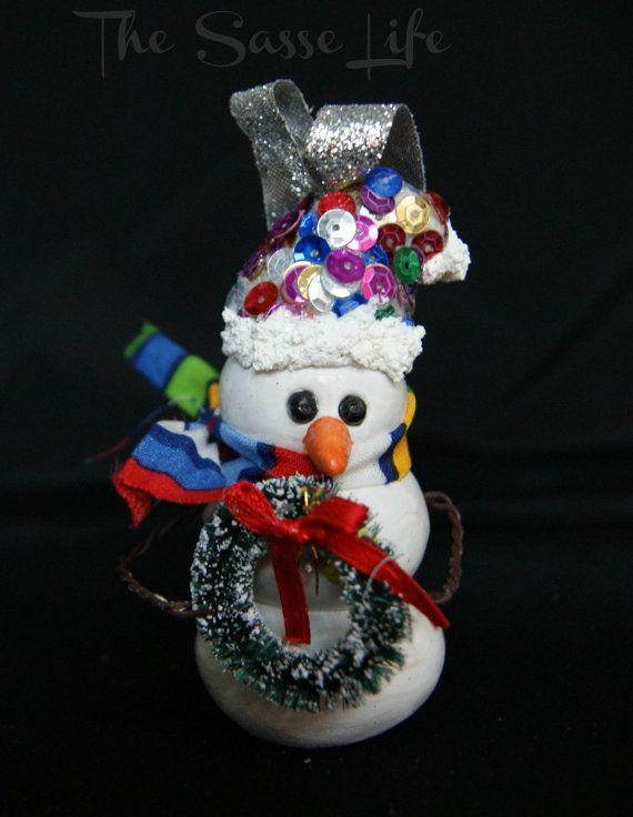 Handmade polymer clay snowman ornament
