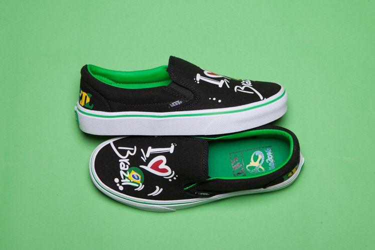 79b45c768b8f74 Vans Olympic Brazil Slip-On Classic Black Grass-Green White Womens Shoes   Vans