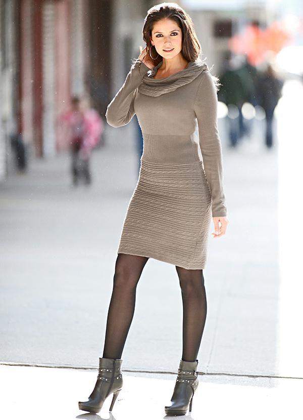 24e8ae320 Vestido de Tricô (Marrom-Acinzentado) | Inspiração - vestidos ...