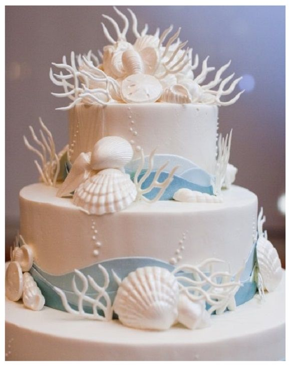 Sea And Beach Themed Wedding Cake With Shells Blue White