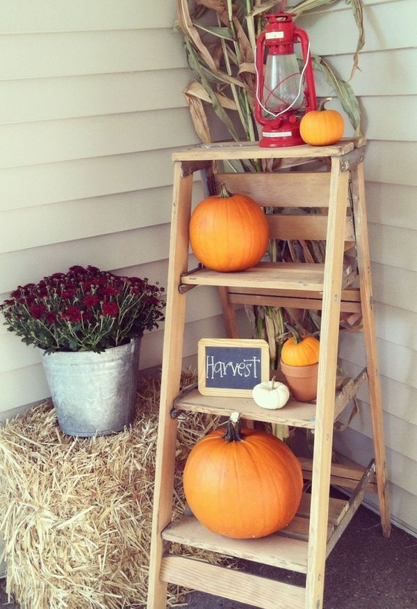 Rustic ladder and pumpkin front porch display