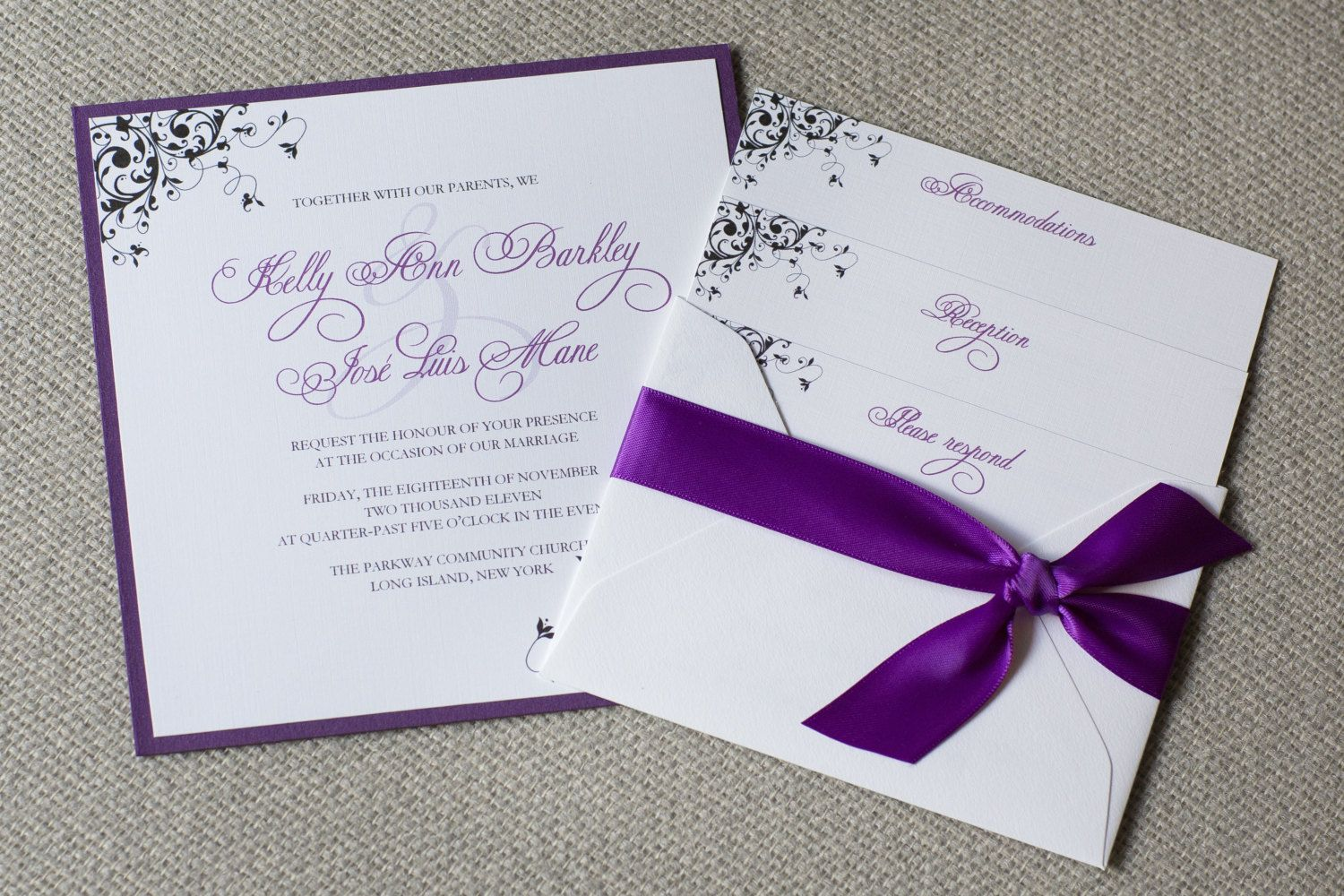 Inexpensive Wedding Invitation Ideas: Purple Wedding Invitations
