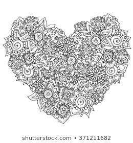 Vector Heart Shaped Pattern For Coloring Book Ethnic Retro Design Floral ElementsBlack