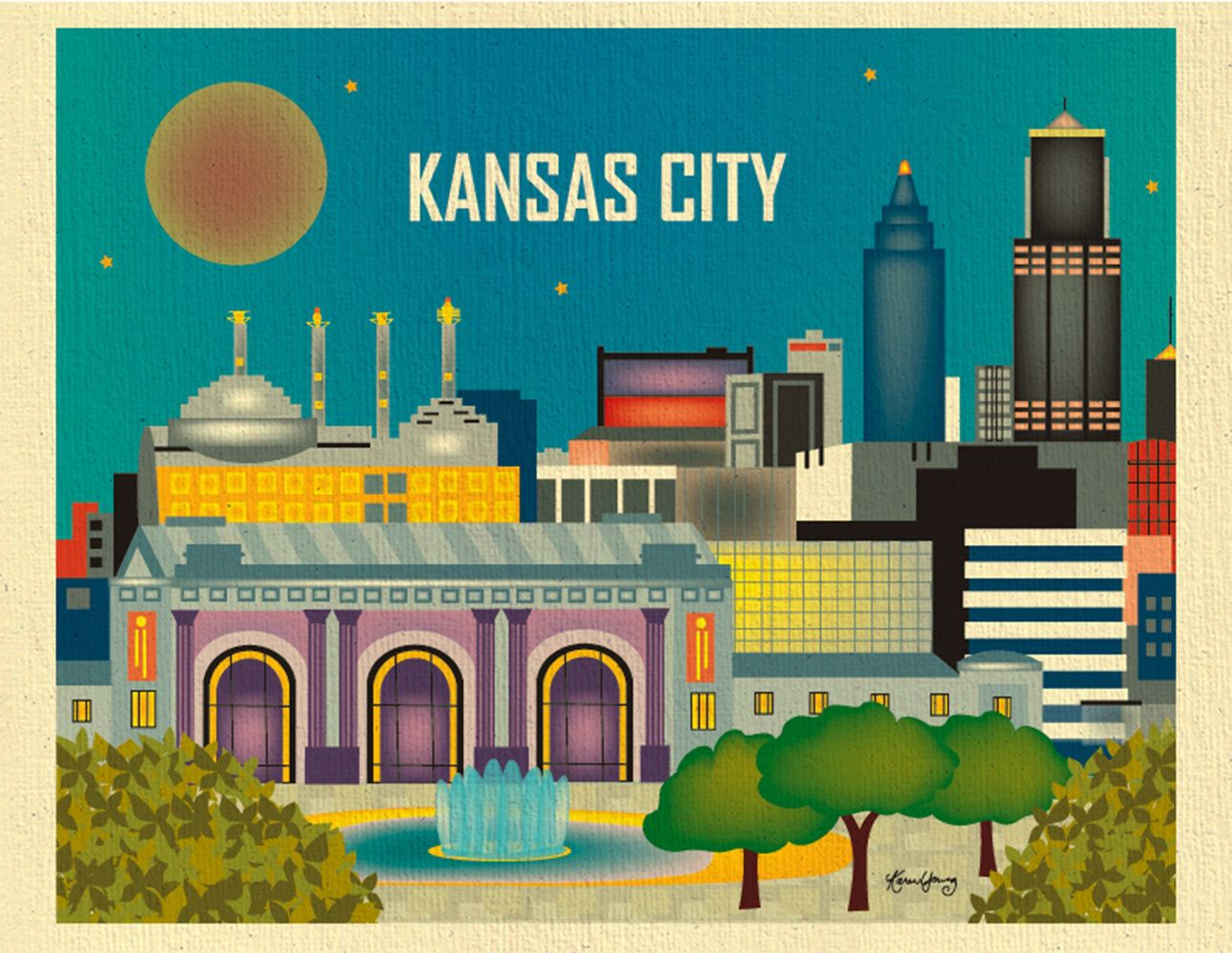 Kansas City Skyline Missouri Destination Travel Wall Art Print For Home Office