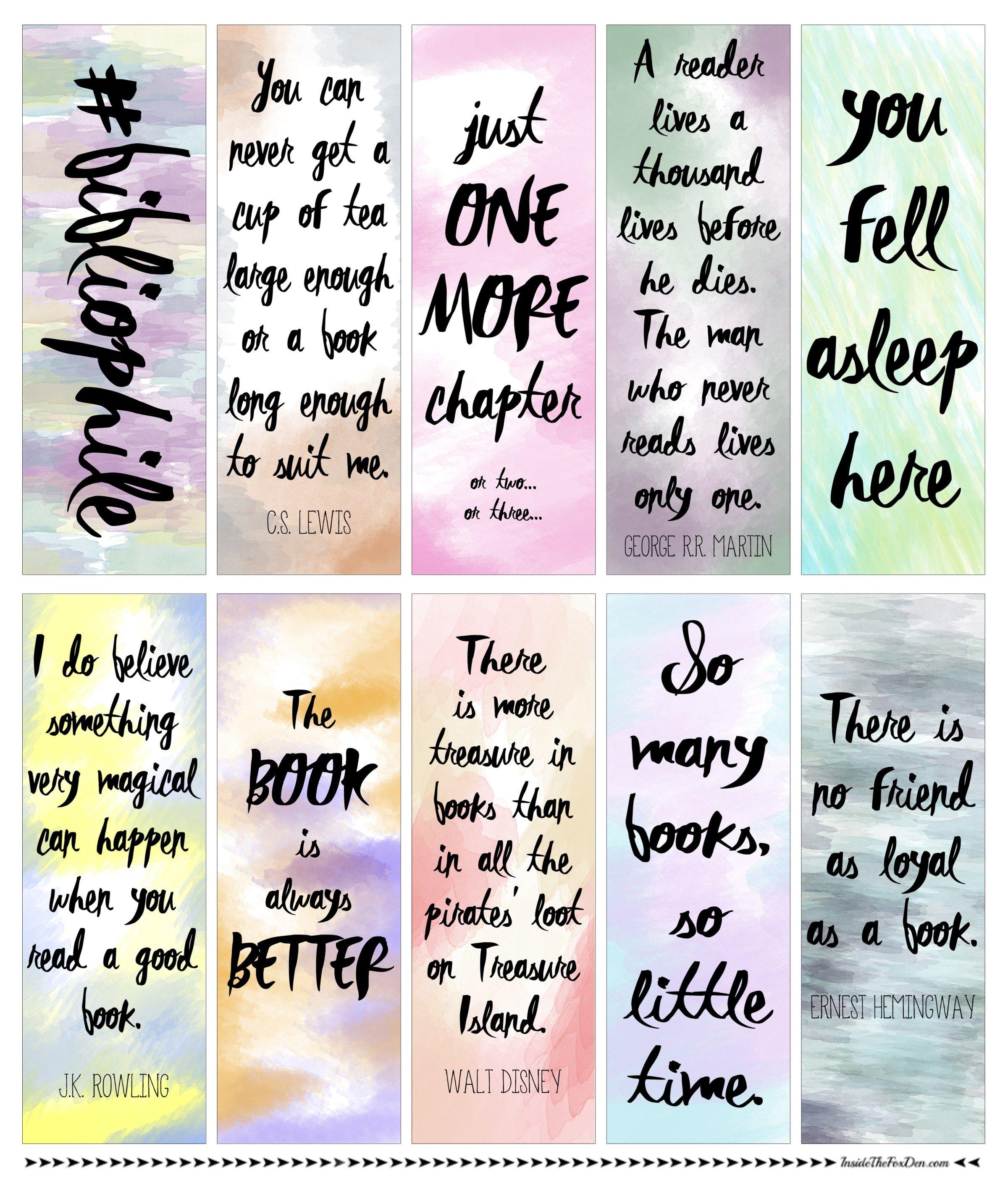 Free Watercolor Bookmarks Handgefertigte Lesezeichen