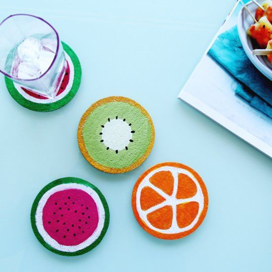 Diy Fruit Cork Coasters Using Round Coasters And Acrylic Paints