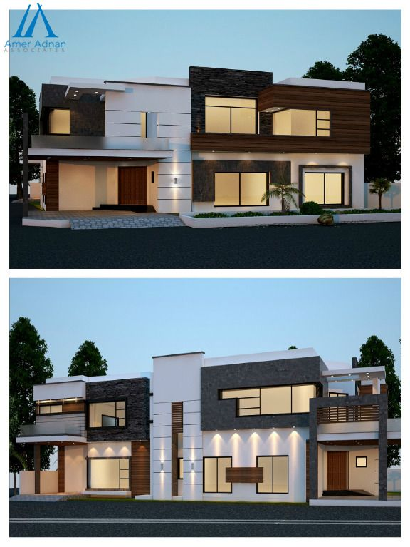 Modern Elevation 3d Design Front And Left Side Views By