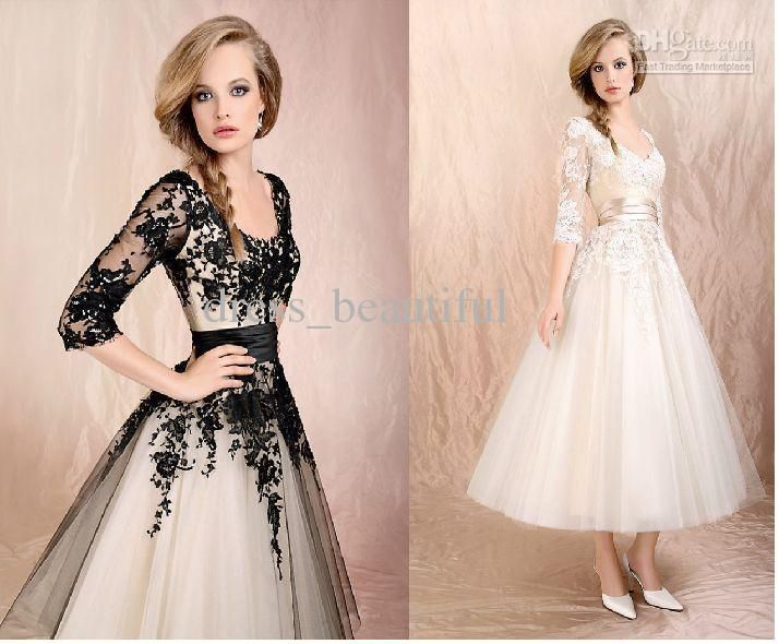 Black 3/4 Long Sleeves Lace Tea-Length Ball Gown Elbow Tulle Short ...