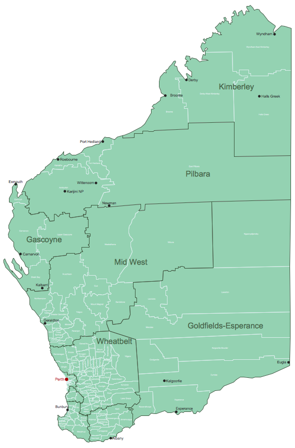 Western Australia Local Government Areas Maps Australia Map