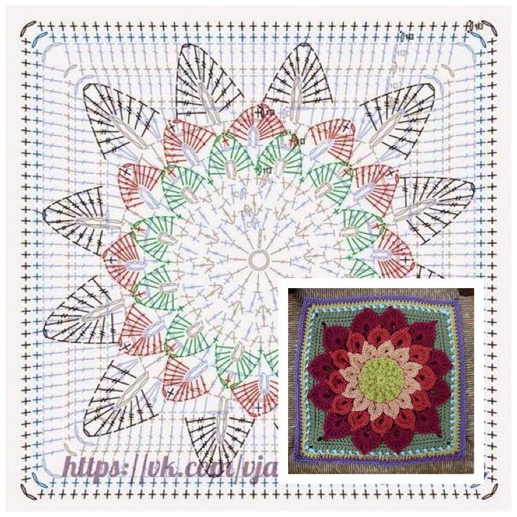 Pin von Nariman Aburish auf Crochet square   Pinterest   Deckchen ...