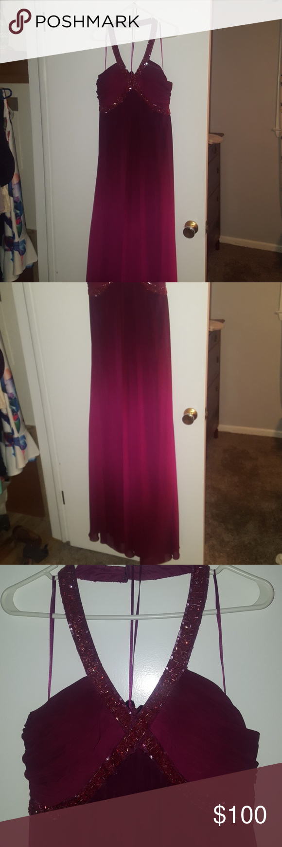 Lovely ombre formal dress Maroon ombre halter dress with beading.  Worn once then I gained weight.  My gain is your gain!  The bottom gently drapes from the bust, covering any little flaws around the tummy. JS Boutique Dresses Prom