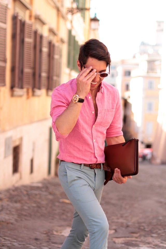 Fashion Men Pink Grey Favorite Color Combination
