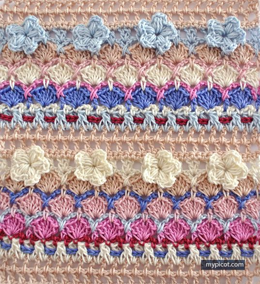 Multi Coloured Flower Shell Stitch Mypicot Free Crochet Pattern