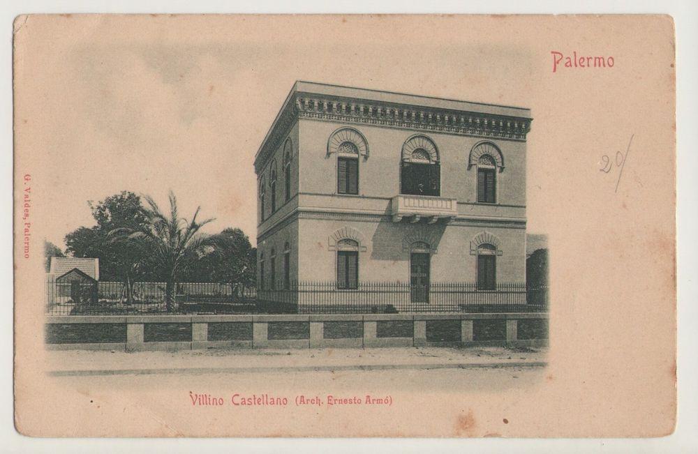Cartolina palermo villino castellano architetto ernesto armo primi 900 sicily engravings old - Architetto palermo ...