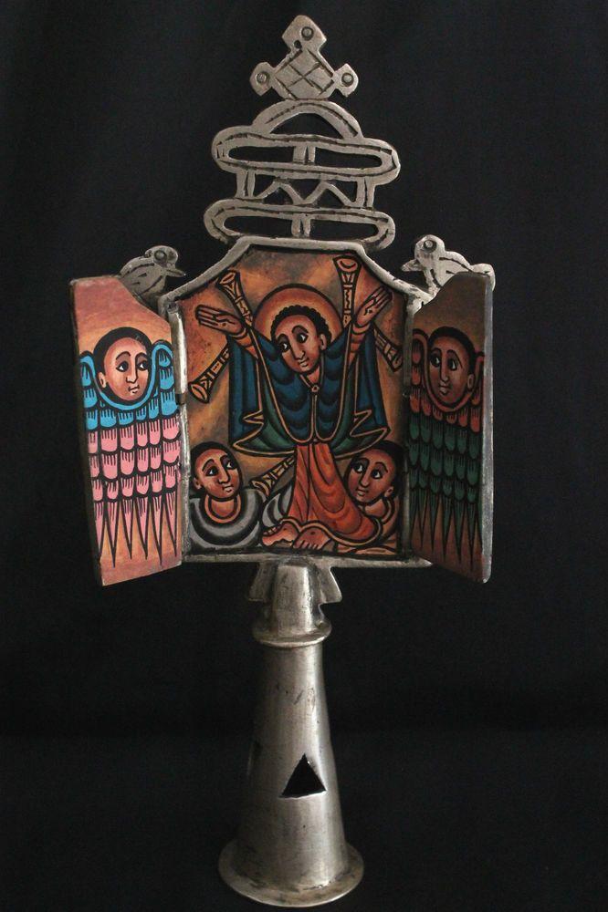 Äthiopien: Vortragekreuz, Ikone Koptisch Orthodox. Ethiopian Processional Cross.