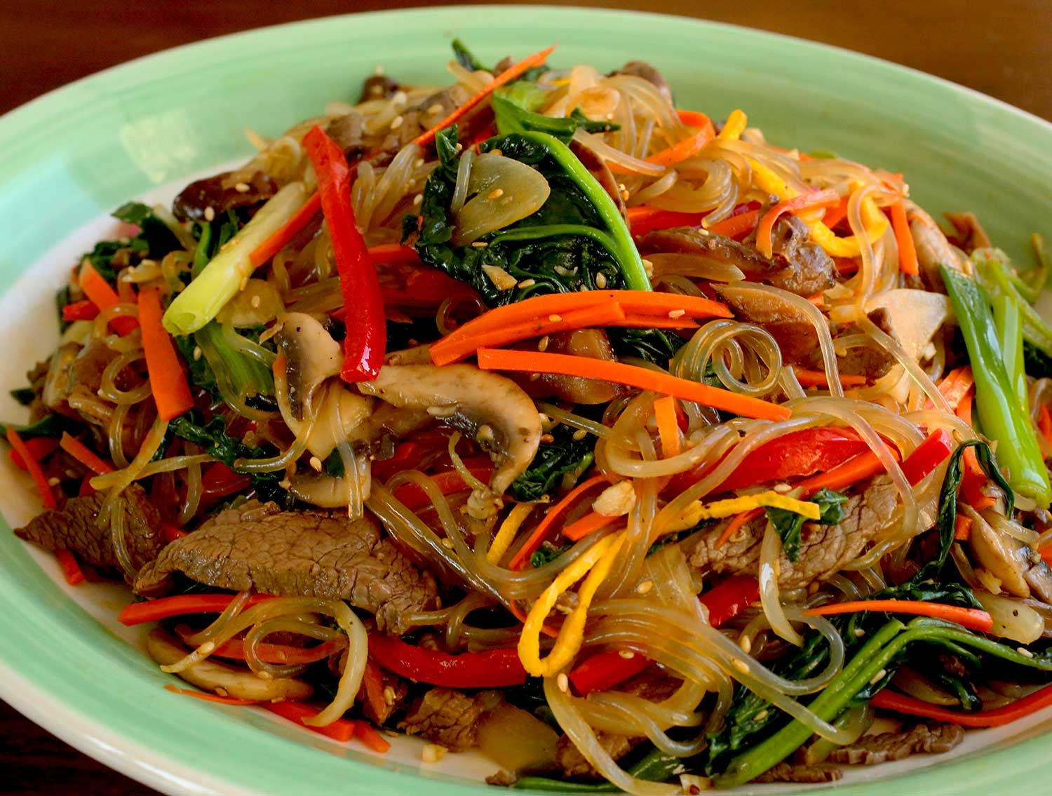 Japchae Sweet Potato Starch Noodles Stir Fried With Vegetables Recipe Vegetable Recipes Vegetable Dishes Recipes Spiral Vegetable Recipes