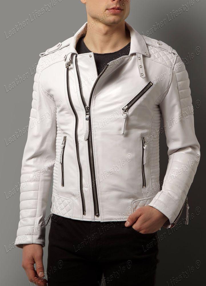 Jinmen Mens Winter Warm Faux Leather Coat Bike Jacket Lamb Wool Lined