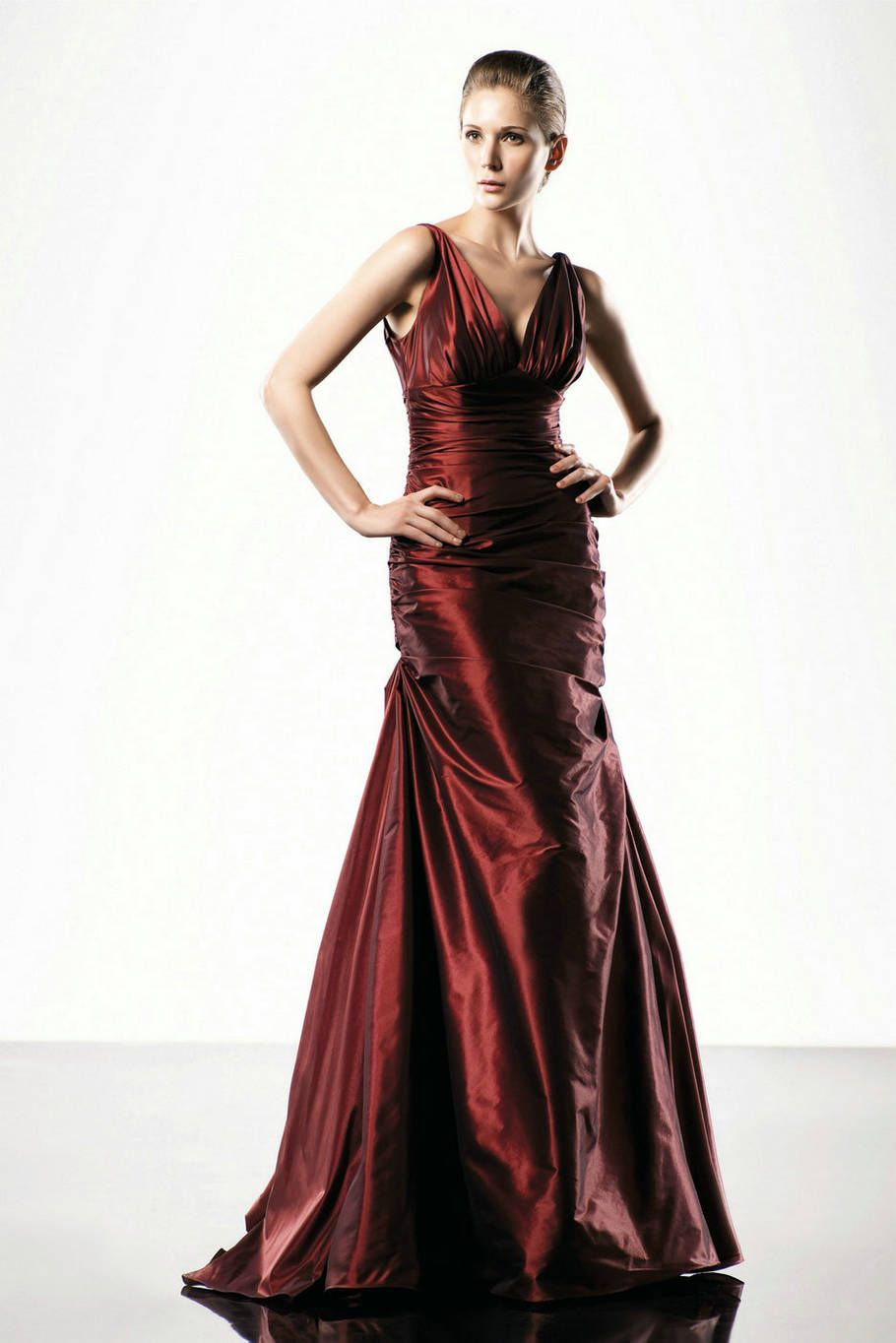 Ruched mermaid taffeta sexy v neck burgandy designer evening gowns
