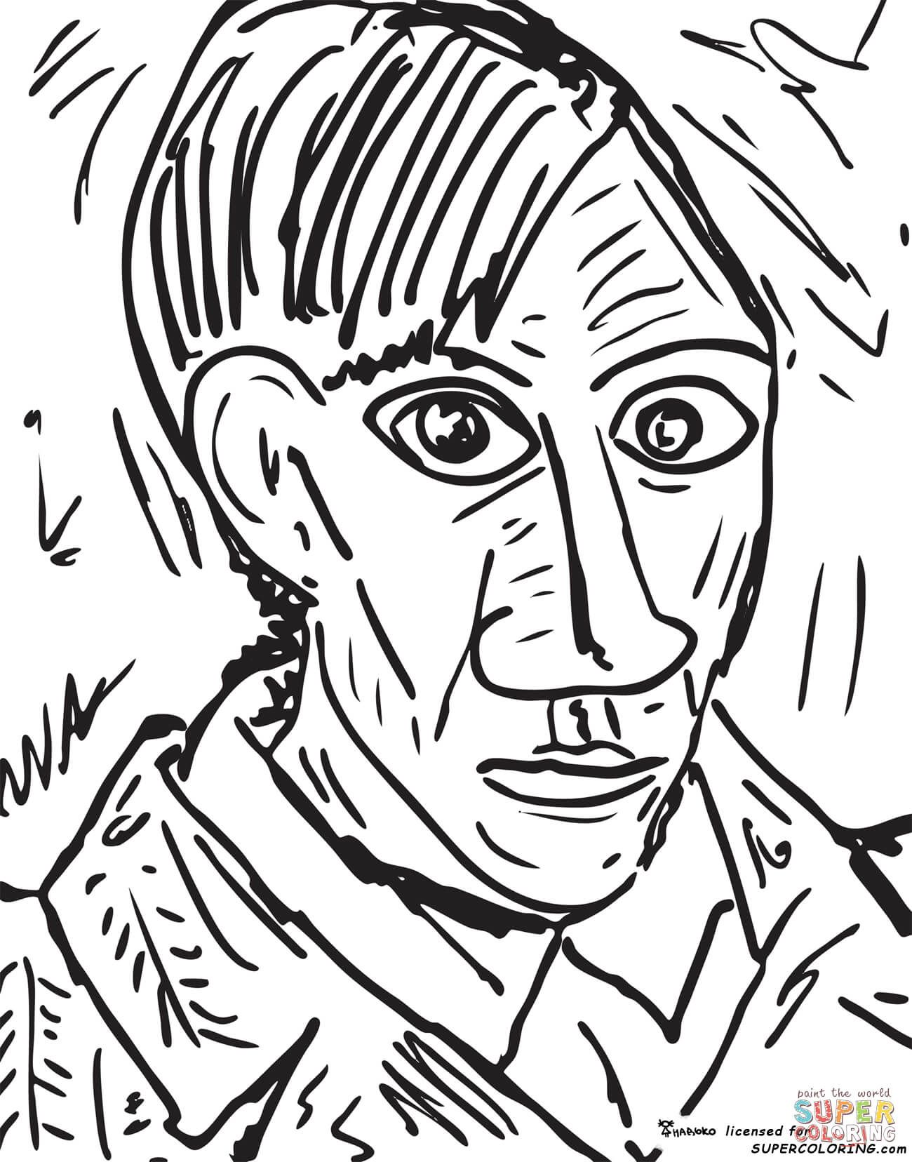 Self Portrait 1907 By Pablo Picasso Coloring Page From Pablo Picasso Category Select From 27538 Printable Craft Pablo Picasso Art Picasso Art Picasso Coloring