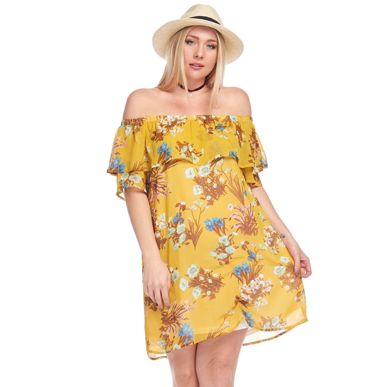 eb5fc5faf585 Hadari Women s Plus Size Casual Off Shoulder A-Line Short Dress ...