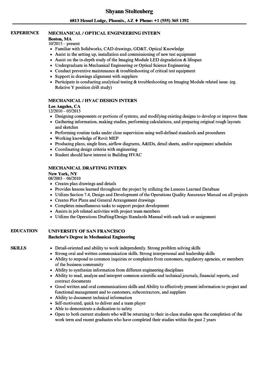 Mechanical Engineer Resume Sample Fantastic Mechanical