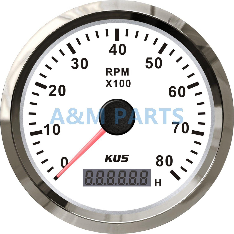 kus marine tachometer gauge led hourmeter boat rpm tachometer 12v 24v 8000rpm [ 1500 x 1500 Pixel ]