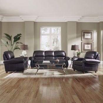 Aniston Burgundy Top Grain Leather Sofa And 2 Chairs