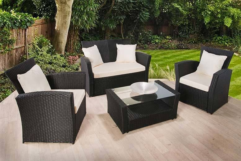 wicker sofa sets uk modern round corner buy florence 4 piece rattan set deal for just 199 00