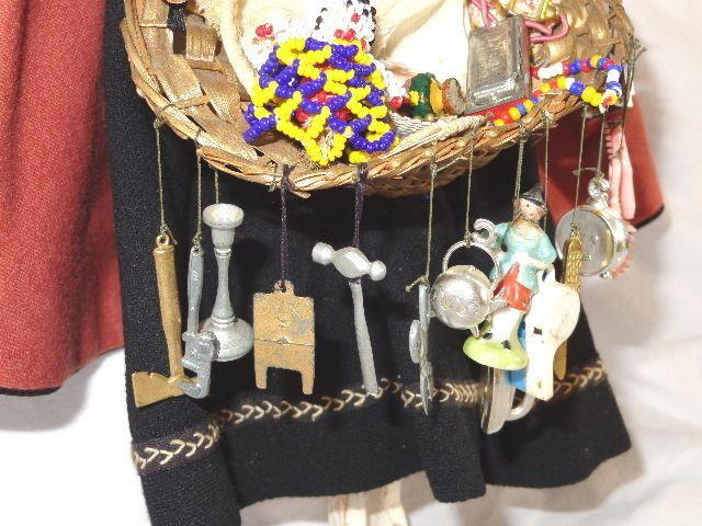 Antique Wooden Peg Doll The Peddler with Basket of Trinkets | eBay