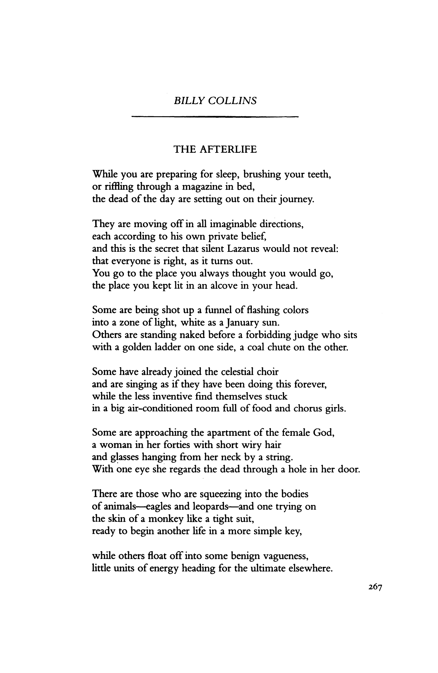 The Afterlife By Billy Collins Poetry Magazine Poetry Magazine Poetic Words Billy Collins