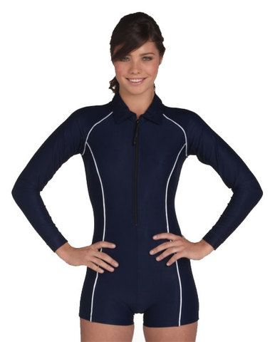 bf96ca905d Long Sleeve - Short Leg Suit - $60 ** The ladies collared boyleg swimsuit  with long sleeves offers maximum sun protection and maximum stye.