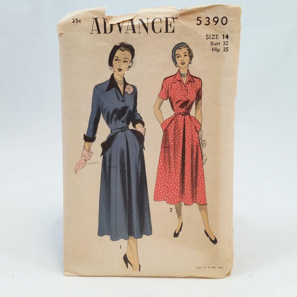 Vintage Advance 5390 Womens Belted Shirtwaist Dress Pattern Size 14 Bust 32 #Advance