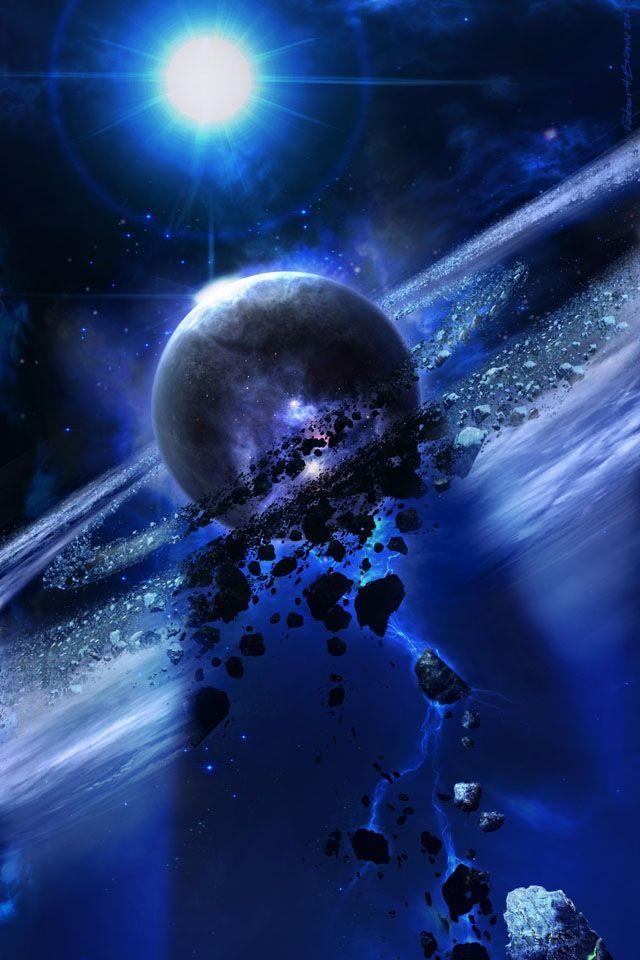 Crashing moon pics i enjoy planets outer space - Deep blue space wallpaper ...