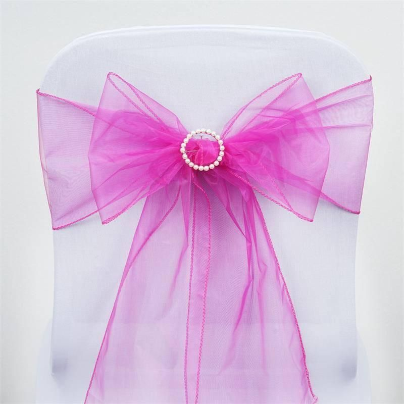 5 pcs wholesale fushia sheer organza chair sashes tie bows catering