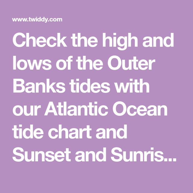 Check The High And Lows Of The Outer Banks Tides With Our Atlantic
