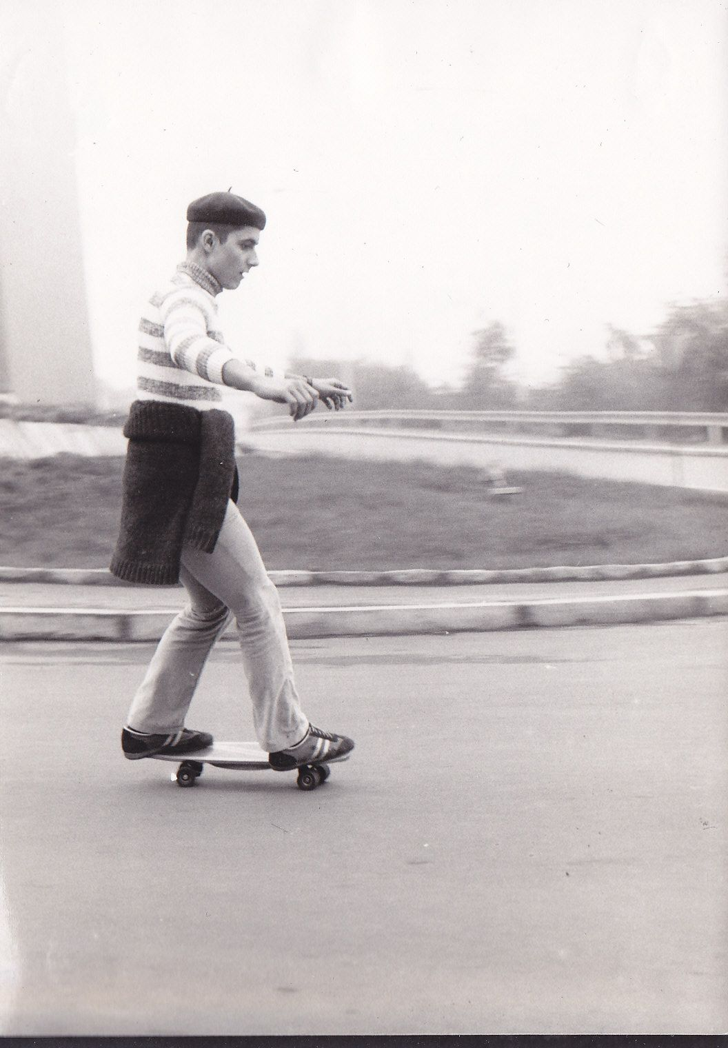 This is my uncle in times of 70s... maybe? Handmade skateboards and no informations... Czech republic was in deep comunism!!!  #skateboard #vintage #baret #hat #oldshool #70's #historical #blackandwhite #epic #uncle #strahov #sk8 #skateisnotacrime #sk8isgr8 #legenday #legend #founder