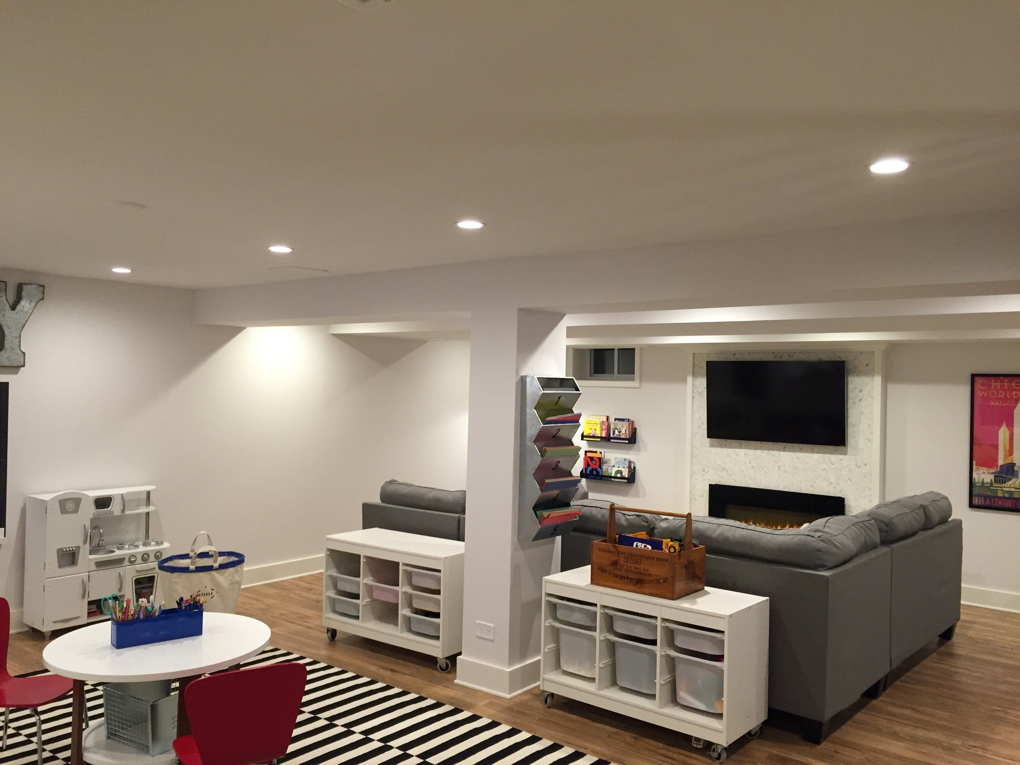 Before After Laceys Multifunctional Basement The Big Reveal Room Makeover Contest 2015