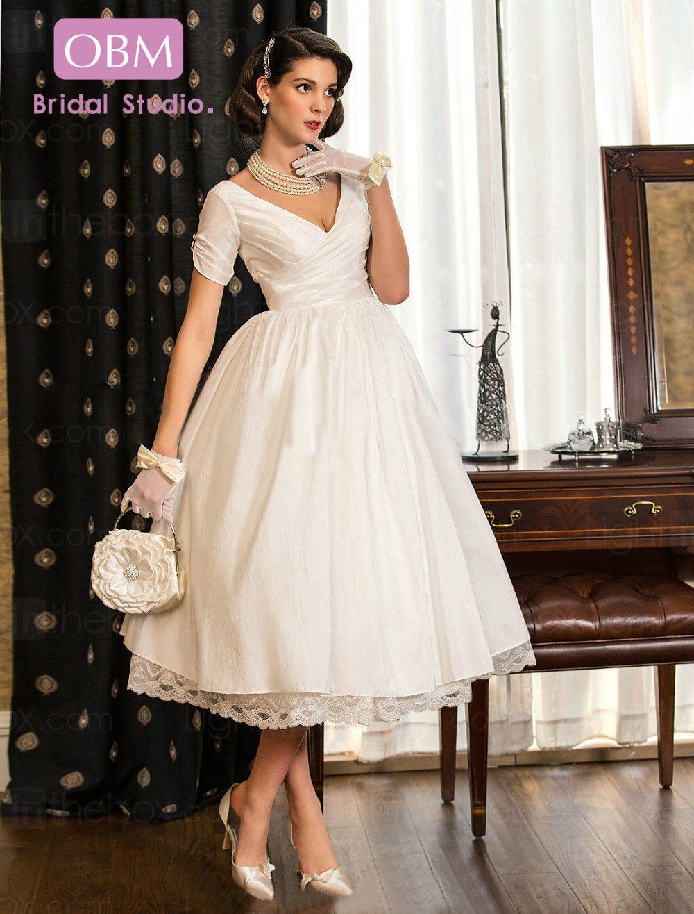 Plus size taffeta wedding dress a line tea length v neck for Plus size tea length wedding dresses