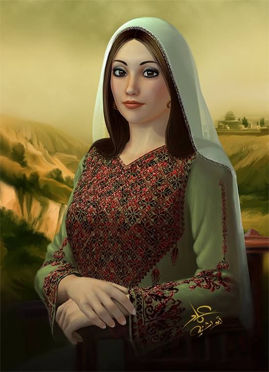 Palestinian Products Handcrafted With Love Palestine In A Box Woman Painting Portrait Palestine Art