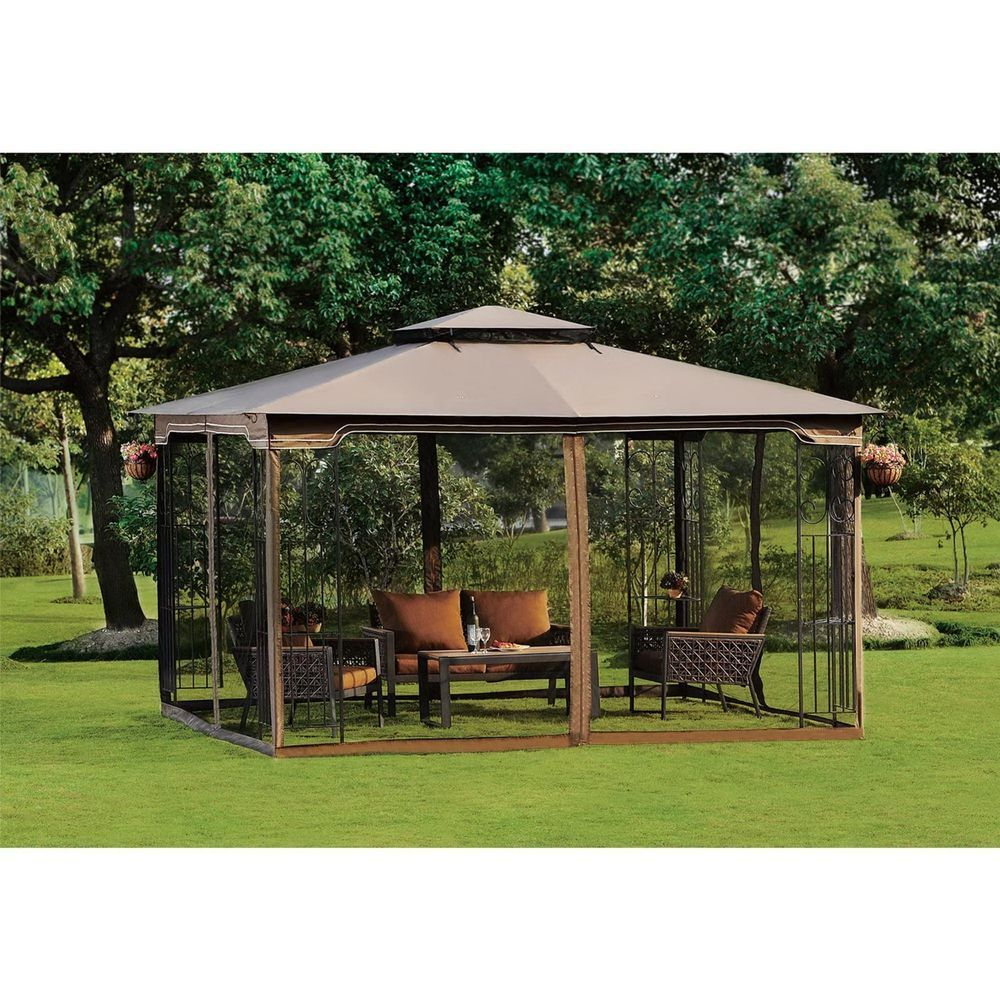 Screened Canopy Gazebo Mosquito Free Net Outdoor Dine Party Wedding Tan  Pagoda