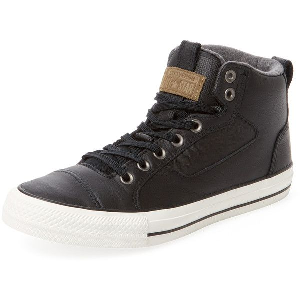 Converse Men's Chuck Taylor All Star Asylum Mid Top - Black, Size... ($16)  ❤ liked on Polyvore featuring men's fashion, men's shoes, men's sneakers,  black, ...
