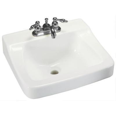 Glacier Bay Aragon Wall-Mounted Bathroom Sink in White Wall