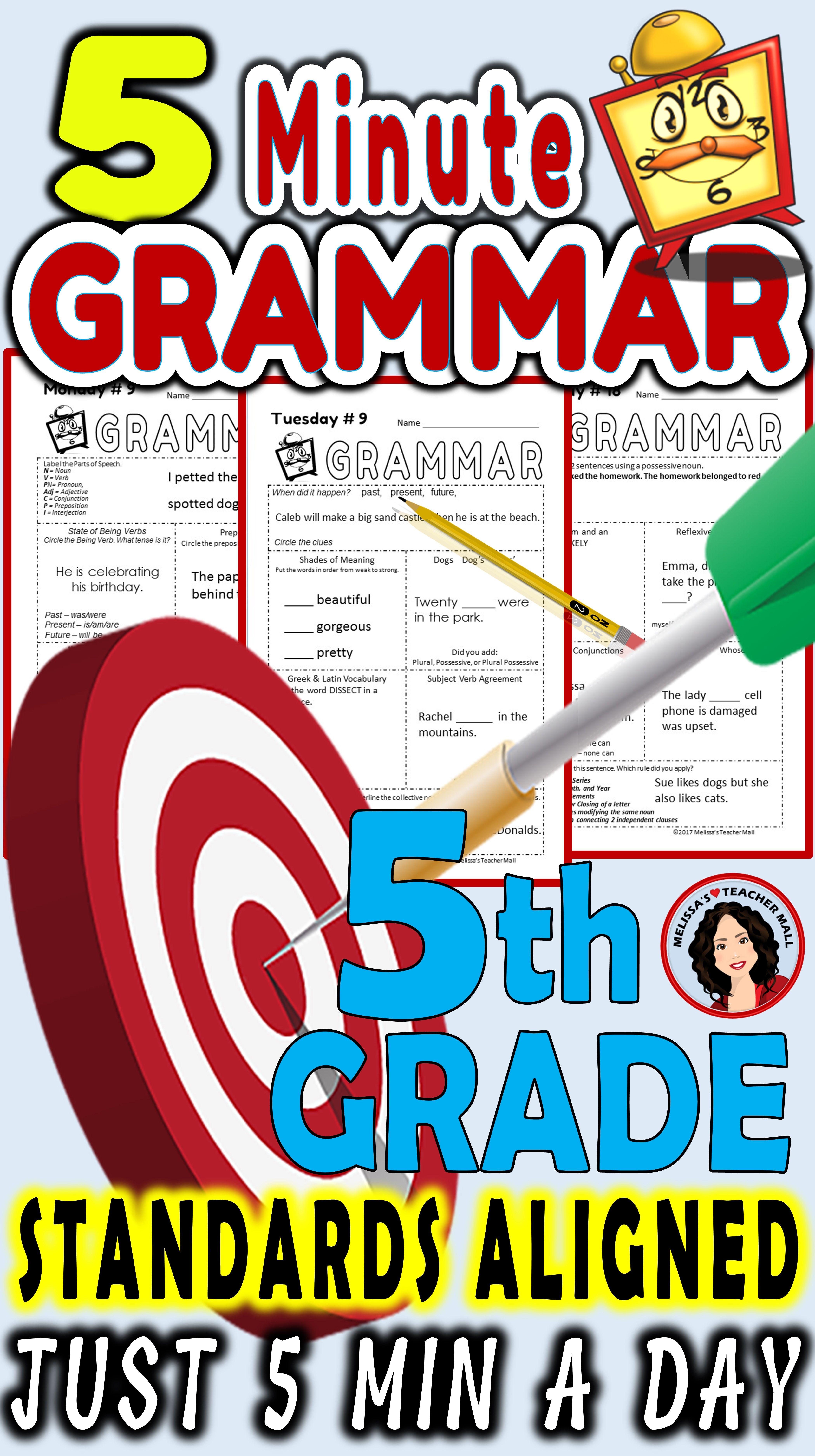 5 Minute Grammar Daily Grammar Worksheets 5th Grade