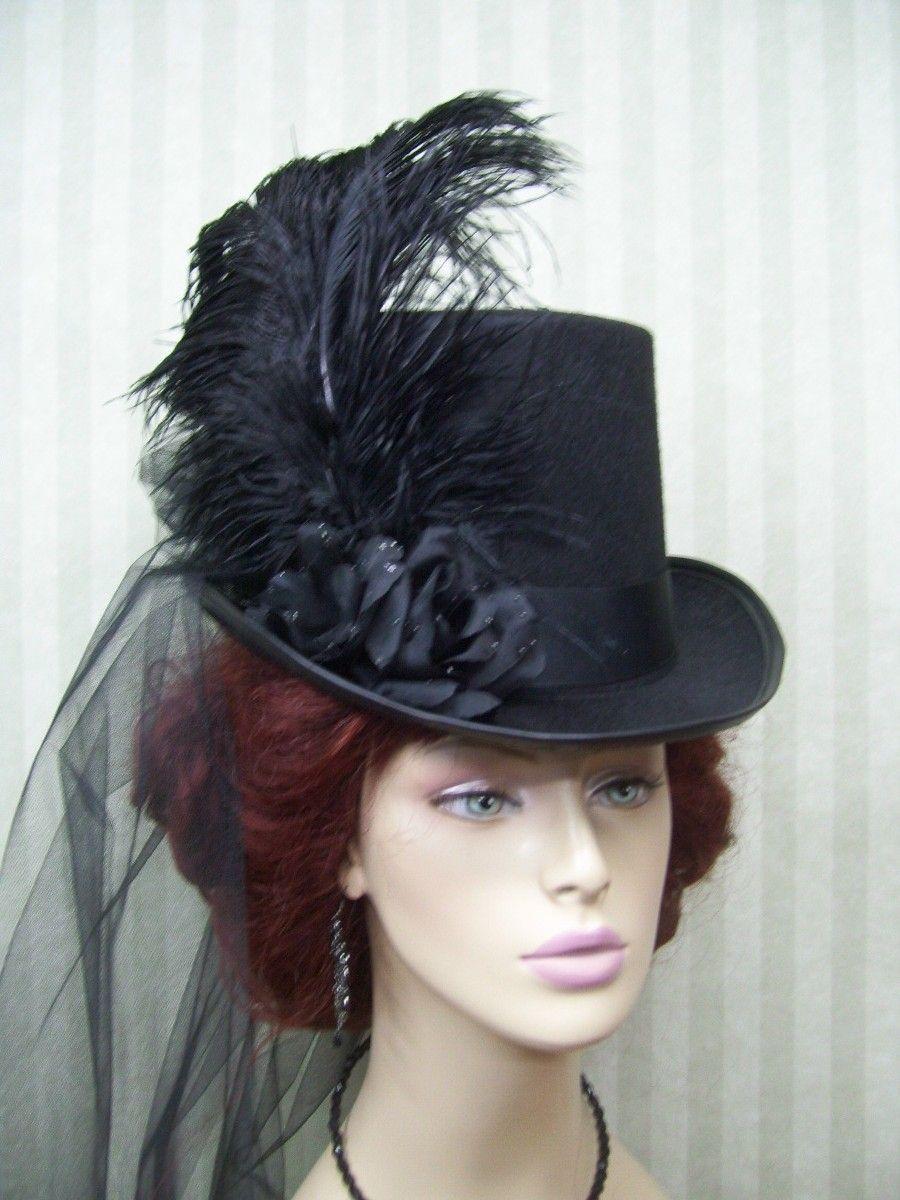 Civil War Halloween Kentucky Derby Hat Black Steampunk Top Hat Victorian Hat