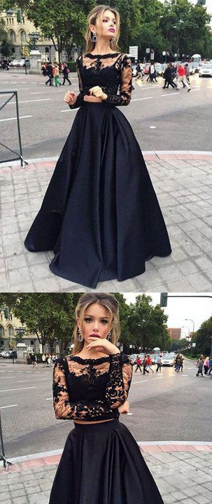 Black Lace Two Piece Long Sleeves Prom Dresses Formal Grad Evening