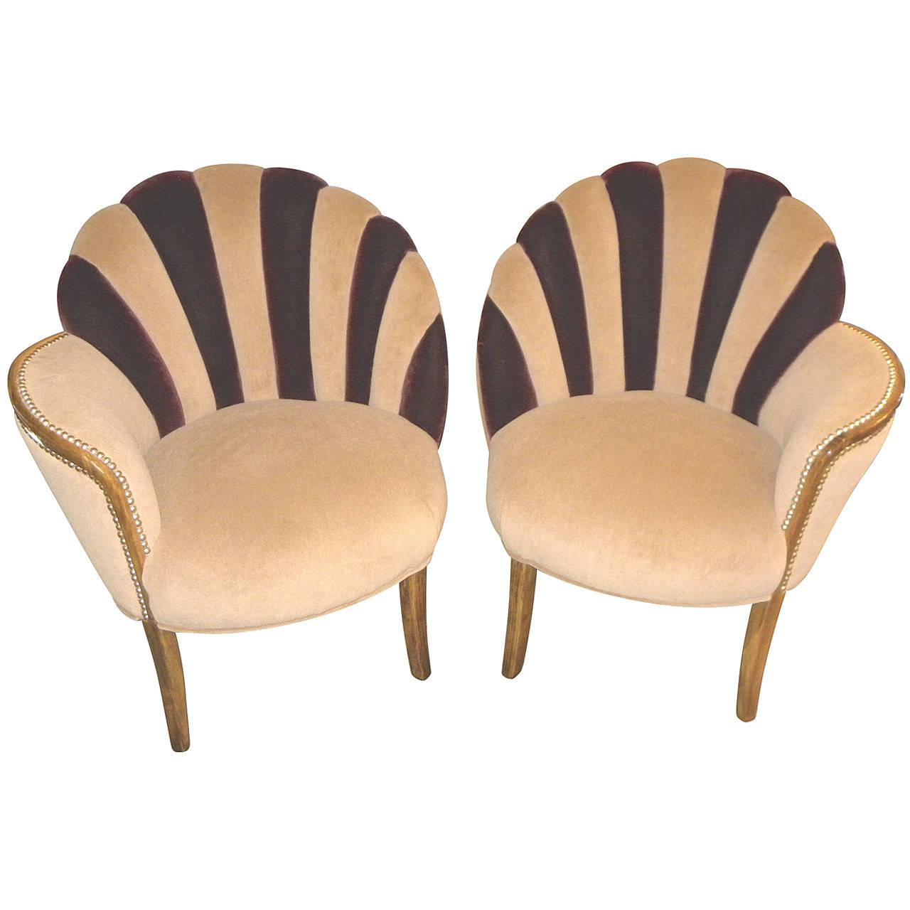 High Style Art Deco Fan Backed Side Chairs