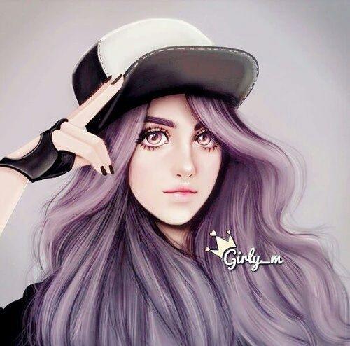 art, beautiful, cool, cute, drawing, girl, hair, lovely, purple ...